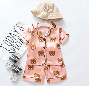 Erkek kız tasarımcı Karikatür ayı ev Giyim çocuk pijama setleri çocuklar Iki parçalı Set kısa kollu elbise çocuk ev giysileri Perakende