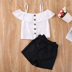 1-6Y Summer Toddler Kids Baby Girl Ruffle Strap Tassel Button Crop Tops T-shirt Bow Shorts Pants Girl Clothes Outfits 2Pcs Set