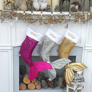 Блестки хвост русалки рождественские чулки подарка Wrap Дети конфеты мешок Рождественская елка Главная Декорации для вечеринок Большой размер Xmas Gifts сумка