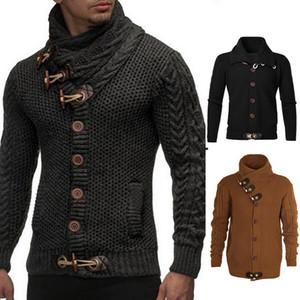 MoneRffi Yeni Erkek Kazak Hırka Ceket Marka 2019 Sonbahar Moda Erkek Düğme Standı Yaka Sıcak KnittedSweater Ceket Artı Boyutu