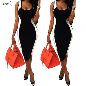 Sexy Women Bodycon Dress Sleeveless Black And White Patchwork Fashion Low Cute Package Hip Knee Length Dress Sexy Club Wear For Women
