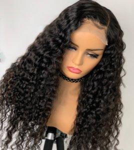 13 * 4 del frente del cordón del pelo humano del 130% pelucas 150% 180% descarado rizado negro Mujeres Malasia 360 de encaje frontal de Remy