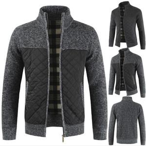 20AW Designer Casual Sweater Solide Couleur Patchwork manches longues épais molleton Cardigan hommes debout couleur Pull homme Manteaux