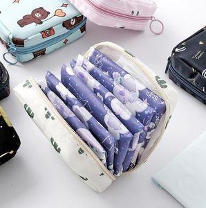 Portable large capacity sanitary napkin storage bag travel cosmetic storage makeup bag jewelry lipstick purse