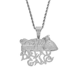 Хлеб Gang Money Bag Корона Кулон Ожерелье Мужчины Полная Лаборатория Бриллиантовое Позолоченное Ожерелье Хип-Хоп Медь Jewelly