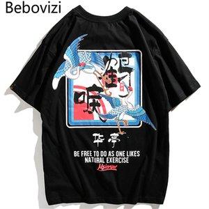 Bebovizi Brand 2019 Японский Уличный Журавль Печатные Топы Футболки Китайский Стиль Мужские Уличные Футболки Хип-Хоп Повседневная Хлопковые Футболки