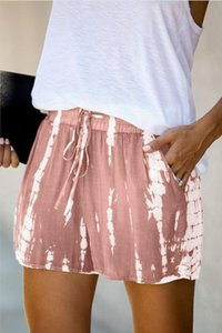 New Frees für Pyjamas Tiedye für Damen Crew Neck Tie Dye Pyjama Short-Sets Set Krawatten-Pyjamas Blumendruck Hotclipper