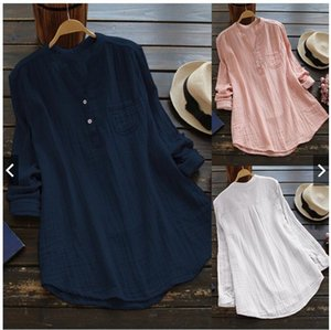 Large size cotton linen long-sleeved women's loose casual Top Cotton and linen shirt shirt three-color women's top