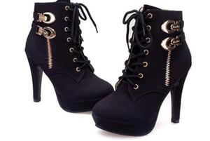 Горячие Продажа осень новых ботильоны для женщин Платформы Высоких каблуков Женщин зашнуровать обувь Женщины пряжки Коротких Загрузочной Повседневной обуви Ladies
