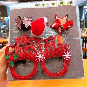 Neue süße nette Weihnachts Glas-Rahmen Huthaarnadel Baby-Geweih-Stirnband Pentagram Spangen für Mädchen Mode Haarschmuck