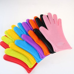 Silicone Heat-resistant BBQ Gloves Microwave Oven Pot Baking Cooking Kitchen Tool Flexible Anti Slip Five Fingers Gloves