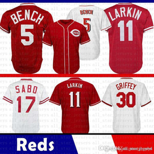 Mens Yasiel 66 Puig 5 Johnny Bench 11 Barry Larkin 19 Joey Votto 30 Ken Griffey Jr Jersey di baseball Reds 17 Chris Sabo 14 Pete Rose
