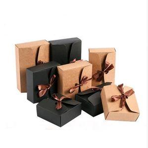20pcs Brown Kraft Pappschachteln Große Geschenkverpackung Papierbox mit Band