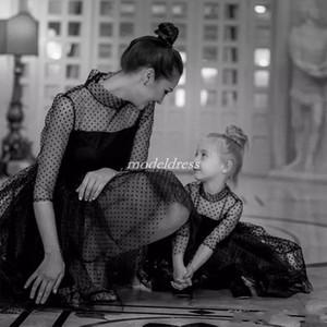 Abiti da spettacolo per ragazze di basso livello nero dolce alto collo manica mezza manica a fiori in pizzo corto vestito da ragazza bambino compleanno festa abiti 2019