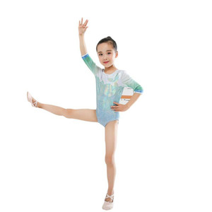 Kid Children Bodysuit Dance Wear Three Quarter Sleeve Gymnastics Leotard Ballet Practice Dance Costume Suit