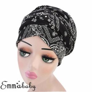 Women Cotton Chemo Cap Turban Plissee-Schlapphut Schlaf-HutBeanie Kopftuch Bonnet 2019 Neu in Mode