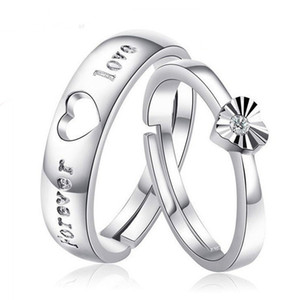 New 2020 Design My Heart Eternal Opening Ring 925 Silver Ring European and American Women Car Flowers Heart-shaped Couples Ring