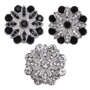 5 adet / lot Toptan Snap Düğme Takı Kristal Çiçek 18mm çekin Düğmeler Fit Gümüş 18mm Snaps Bilezikler Bileklik
