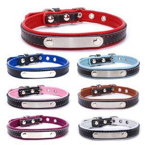 Leather Pet Collar Stainless Steel Iron Lettering Dog Collars Adjustable Cow Leather Dog Pet Cat Puppy Collar