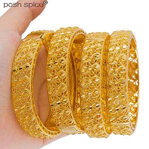4pcs Dubai Gold Bangles di colore per i regali delle donne dell'Islam Medio Oriente Oro Bangle africani etiopi bracciali monili di nozze