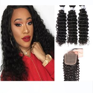 10A Virgin Mink Brazilian Deep Culry Human Hair Bundles With Lace Closure Unprocessed Deep Curly Wave Wefts Free Shipping
