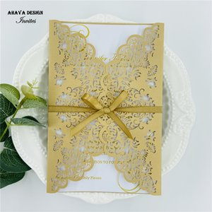 Elegant Pearl Deep Gold Laser Cut Wedding Invitation, Personalized Invitation Suite With Bowtie And Envelope, Free Deisgn