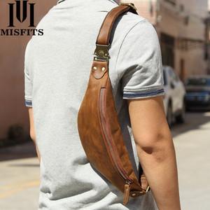 MISFITS paquet sac hommes en cuir de vache messager mode taille pour le cuir de cheval fou téléphone portable mâle sac poitrine petit sacs à bandoulière T200114