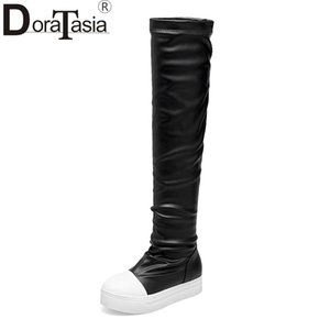 DoraTasia New Large Size 33-43 Add Fur Flat Heels Over The Knee Boots Women 2019 Add Fur Boots Ladies Casual Flat Shoes Woman