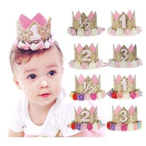 Baby-erste Geburtstags-Dekor-Blumen-Partei-Cap Kronen-Stirnband 1 2 3 Jahr Zahl Priness Stil Zubehör Baby-Geburtstags-Party-Performance-Dig