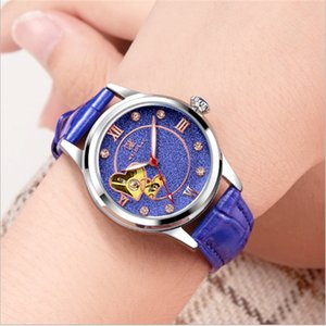 Designer new candy-colored leather fashion machinery ladies stainless steel pin buckle hollow automatic movement Roman sports watch