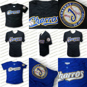 Charros De Jalisco Baseball-Shirt Made in Mexiko genähtes genähtes 100% Polyester-Soft-Material-Schwarz Blau Verschiffen frei Jerseys