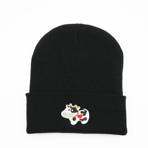 2020 new style Cow animal embroidery Thicken knitted hat winter warm hat Skullies cap beanie hat for kid boy and girl 151