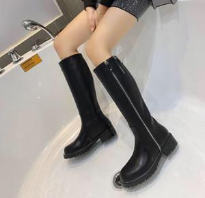 Hot Sale-Top Designer 2019 Frauen Knie Stiefel Blau Braun Leder Oberschenkel High Fashion Boot Lady Kleid Casual Boot