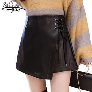Обычная A-line юбка женская осень-зима модели Ins Super Fire короткая юбка с высокой талией PU сумка бедра юбка маленькая кожа 1921 50