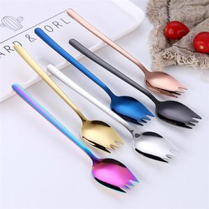 1 Gümüş Çatal Kaşık Multifuntional Spork 2 Renkli Paslanmaz Çelik 304 Altın Çatal Erişte Beslenme