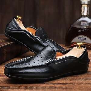 Fashion Mens Split Leather Walking Shoes Breathable Big Size 38-47 Man Flat Loafers Male Office Driving Peas Shoes Lazy Footwear