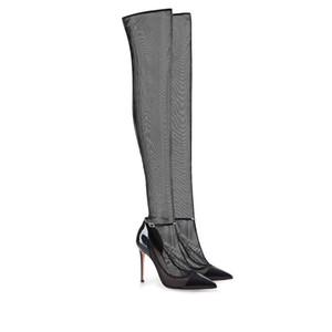 Stivaletti lunghi sopra cosciali Stivaletti alta moda 2019 Autunno primavera stile punta a punta scarpe da festa in pizzo nero con bottoni lunghi