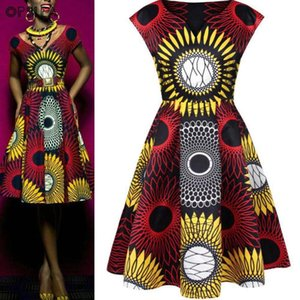 Opslea African Women V Collar Print Long Dress 2019 New Casual Slim Fit Clothes Dashiki African Fashion Summer Sleeveless Dress
