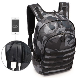 PUBG Backpack Men Bag Mochila Pubg Battlefield infantaria Pacote de camuflagem Viagem Canvas USB Headphone Jack Voltar Bag Mochila NewMX190903