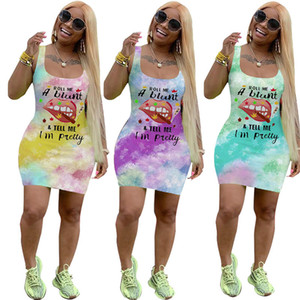 Women Dresses Summer Brand Letters Designer Print Sexy Vest Sleeveless Dress Lip Tie Dye Fashion Casual T Shirt Skirt Bodycon Dresses D6502