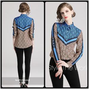 Hot Contraste listrado cor impressa camisas Fall Primavera Runway luva longa das mulheres Blusas Office Lady Negócios lapela Neck Magro shirt Tops