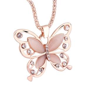 Caliente de 18 quilates se levantó collar de Animal jersey collar de cadena chapada en oro de la cadena colgante de cristal collar largo de la mariposa