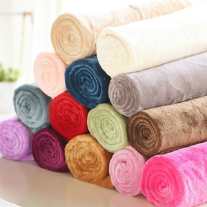 50 * 70cm chaud Flanelle Toison serviette couvertures moelleuses Couvertures solides Couvre-lit en peluche d'hiver d'été Throw Blanket pour Canapé-lit LJJA3225-23