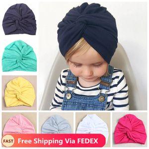 Infantil venda recién nacida del bebé niños del sombrero del turbante Pañuelos Mezcla de algodón Beanie Baby Kids Turbante Poco chica Accesorios para el cabello