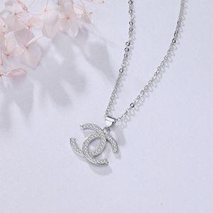 Joyería collar de cristal de diamante de los collares pendientes de las mujeres de los hombres Collares banquete superior del diseñador de moda collar de plata plateado Carta Lujo