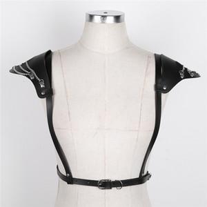 iEFiEL 유행 가짜 가죽 여자 어깨 패드/6 개의 금속 O 반지 속박 벨트 마구를 가진 조정가능한 몸 가슴 마구 벨트