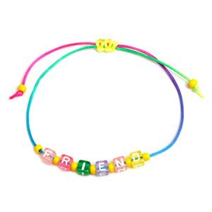 موضة هدايا VSCO الصداقة الخرزة أساور حبل ملون اليد المنسوجة سوار قابل للتعديل مجوهرات الإنجليزية رسالة الحلي