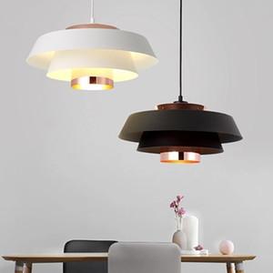 Nordic style Pendent Lamp Post Moderne Simple Restaurant Bar créatif lumière Led Lampes et lanternes de fer Lustre Noir Blanc