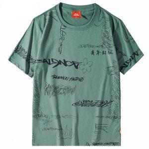 2.020 Homens de Hip Hop Camiseta Streetwear Graffiti Kanji Harajuku T-shirt Summer manga curta Tops T-shirt Casual Tees Cotton Hipster
