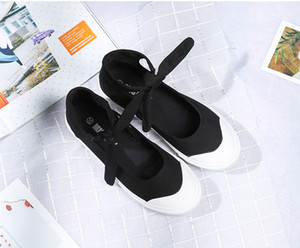 new fashion classical designer dancing women's shoes girl casual sneakers walking cloth shoes flat heeled bowknot bandage white black F0030